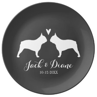 French Bulldog Silhouettes with Heart and Text Dinner Plate