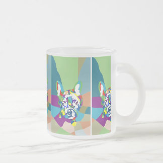 French Bulldog sitting Frosted Glass Coffee Mug