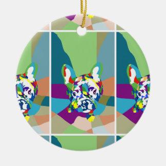 French Bulldog sitting Double-Sided Ceramic Round Christmas Ornament