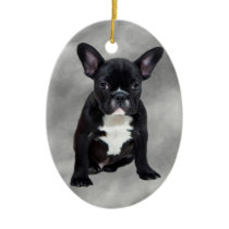 French Bulldog Sitting Watercolor Oil Painting Ceramic Ornament