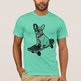 French Bulldog Skateboarding w/sunglasses Tee