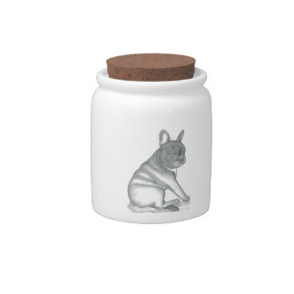 French Bulldog sketch candy jar