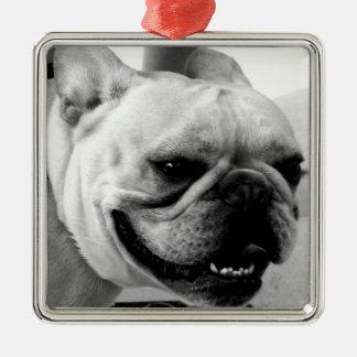 French Bulldog Square Metal Christmas Ornament