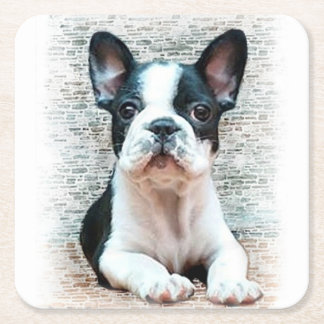 French Bulldog Square Paper Coaster