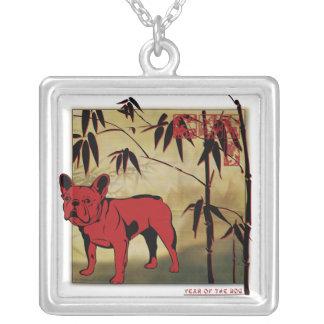French Bulldog Square Pendant Necklace