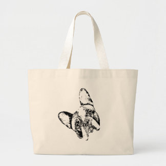 French Bulldog Stencil Head Tilt Large Tote Bag