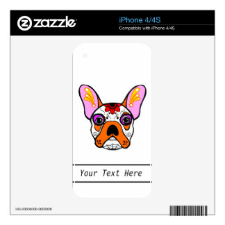 French Bulldog Sugar Skull Skins For The iPhone 4S