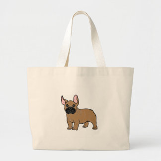 french bulldog tan cartoon.png large tote bag