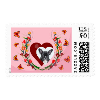 French Bulldog W Hearts Butterfly Flowers Stamp