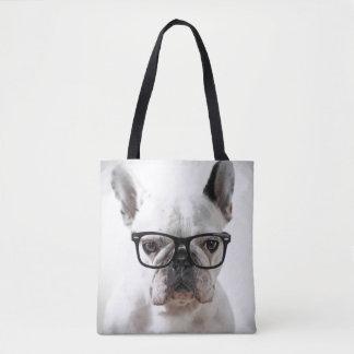 French Bulldog Wearing Black Eye Glasses Tote Bag