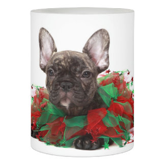 French bulldog wearing Christmas collar Flameless Candle