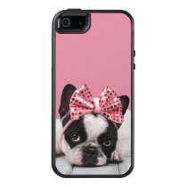 French Bulldog Wearing Pink OtterBox iPhone 5/5s/SE Case