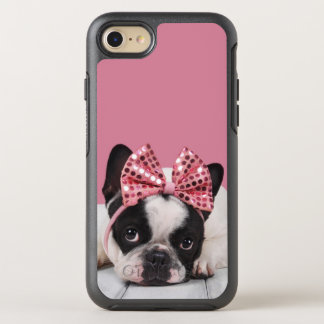 French Bulldog Wearing Pink OtterBox Symmetry iPhone 7 Case