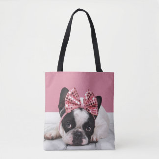 French Bulldog Wearing Pink Tote Bag