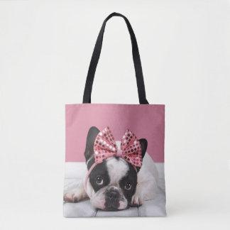 French Bulldog Wearing Pink Tote Bag