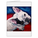 French Bulldog, White and Black Greeting Cards