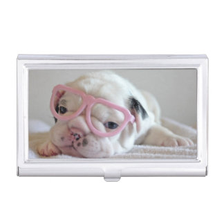 French bulldog white cub Glasses, lying on white Business Card Holder