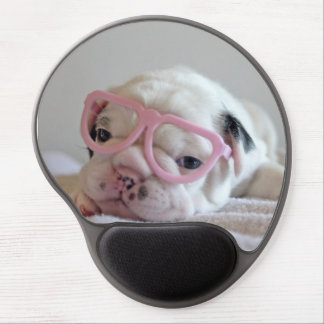 French bulldog white cub Glasses, lying on white Gel Mouse Pad