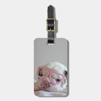 French bulldog white cub Glasses, lying on white Luggage Tag