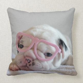 French bulldog white cub Glasses, lying on white Throw Pillow