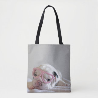 French bulldog white cub Glasses, lying on white Tote Bag