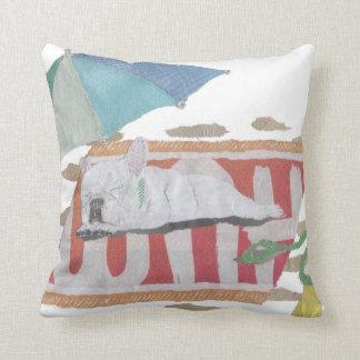 French Bulldog, White Frenchie, Colorful Throw Pillow