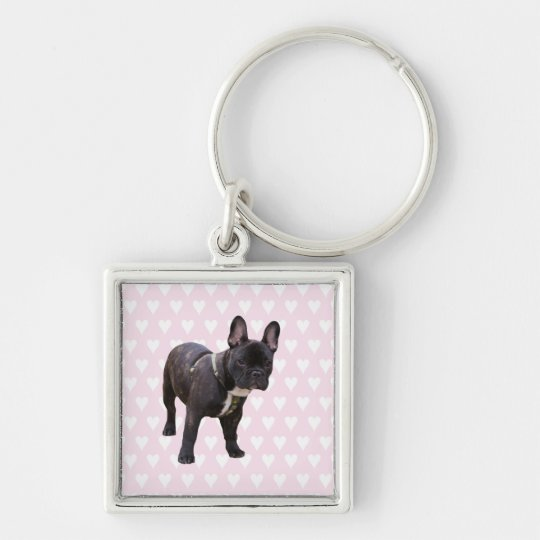 French Bulldog white & pink hearts keychain