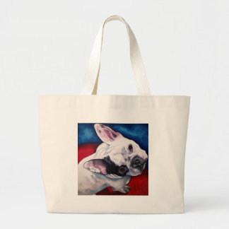 French Bulldog White with Patch Large Tote Bag
