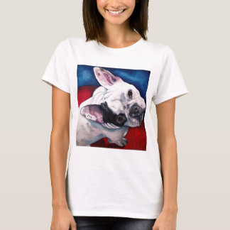 French Bulldog White with Patch T-Shirt