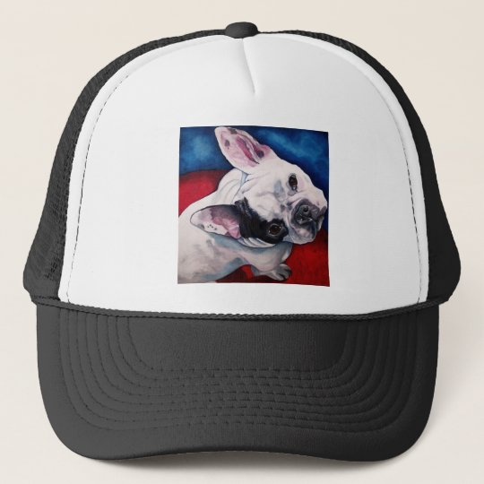 French Bulldog White with Patch Trucker Hat