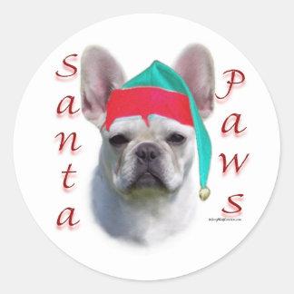 French Bulldog (wht) Santa Paws Round Sticker
