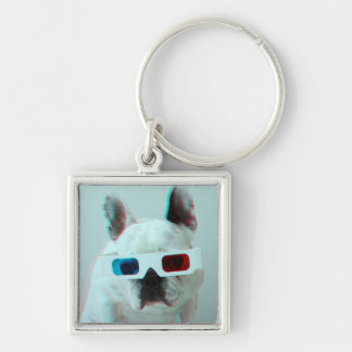 French Bulldog With 3D Glasses Keychain