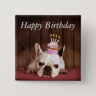 French Bulldog With Birthday Cupcake Button
