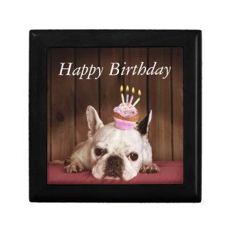 French Bulldog With Birthday Cupcake Keepsake Box