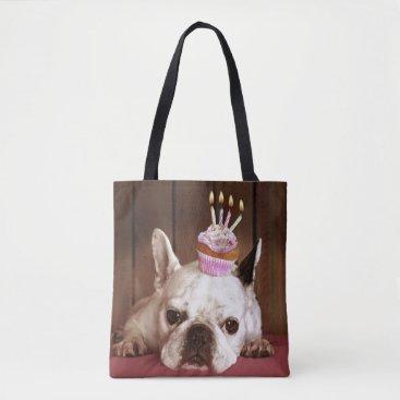 birthday French Bulldog With Birthday Cupcake Tote Bag