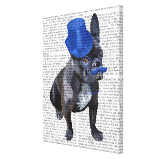 French Bulldog With Blue Top Hat and Moustache Canvas Print