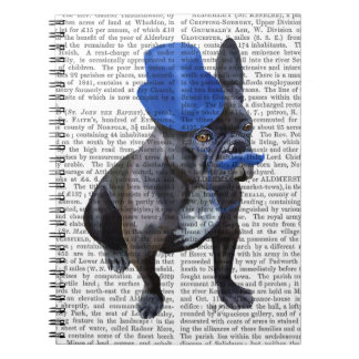 French Bulldog With Blue Top Hat and Moustache Spiral Notebook