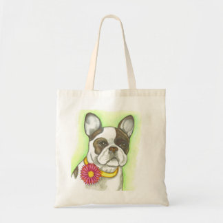 French Bulldog with flower collar tote