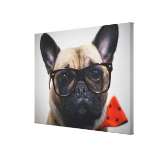 French Bulldog With Glasses And Bow Tie Canvas Print