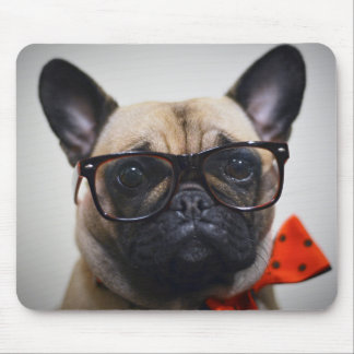 French Bulldog With Glasses And Bow Tie Mouse Pad