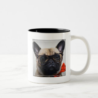 French Bulldog With Glasses And Bow Tie Two-Tone Coffee Mug