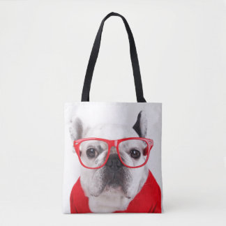 French Bulldog With Glasses And Red Shirt Tote Bag