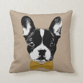French Bulldog with Gold Bow Tie Beige Throw Pillow