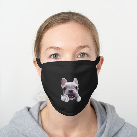 French Bulldog with Headphone Black Cotton Face Mask