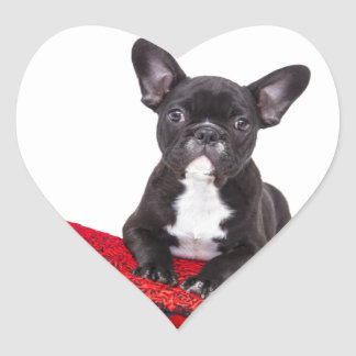 French Bulldog with heart and nice quote Heart Sticker