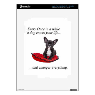 French Bulldog with heart and nice quote iPad 3 Skin