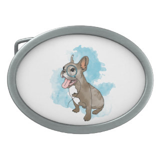 French bulldog with monocle and clouds belt buckles