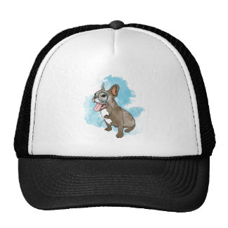 French bulldog with monocle and clouds mesh hat
