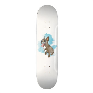 French bulldog with monocle and clouds skateboard deck
