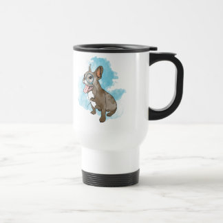 French bulldog with monocle and clouds travel mug